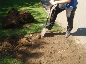 Richard's legs digging off the first turf for our wartime zoo garden