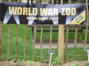 New Wartime zoo banner unveiled at Newquay Zoo's wartime garden