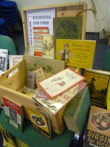 A much visited box of ration books, gardening books and wartime recipe collections