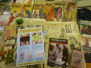 Wartime life when not muddy in the zoo gardens: Some fabulous 'make do and mend' materials and powdered egg from the 1940s Society source, part of Newquay Zoo's wartime life display today .