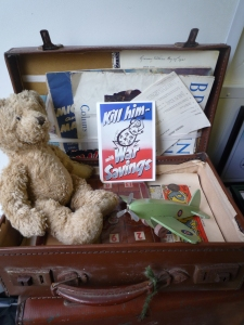 Wartime recycled handmade toys and a re-enactor bear haved got the squander bug surrounded - surrender! Objects from the Newquay Zoo wartime garden archive collection.