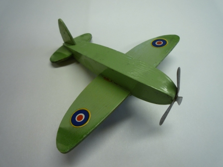 The Battle Of Britain in miniature for a wartime boy! A beautiful wartime handmade wooden Spitfire toy, our other favourite suggestion for the wartime object collection on the BBC A History of The World.