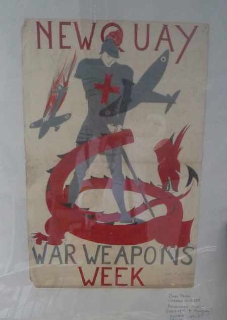 Spitfires, Stukas, George and the Dragon: Newquay War Weapons Week poster design from Carmen Blacker and Joan D Pring at Benenden Girls School, evacuated to Newquay in the 1940s. Copyright: World War Zoo project, Newquay Zoo