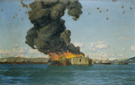 "Charles Pears (1873 -1958),  painting ""The Bombing of The British Chancellor 10 July 1940"", signed, oil on canvas, a large painting at 80 x 125 cms and presented by the Falmouth Harbour Commission, 1993. Copyright: Falmouth Art Gallery www.falmouthartgallery.com"