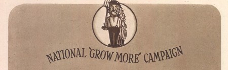 The Little Man with The Spade - unofficial logo for the National Growmore Campaign 1940, replaced by the iconic hobnail boot on spade image of the Dig for Victory campaign in 1941 Image from adverts in The Vegetable Garden Displayed, RHS (image from the World War Zoo gardens archive, Newquay Zoo)