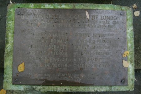 Names of the fallen ZSL staff from the First World War, ZSL war memorial, London Zoo, 2010