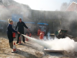 Newquay Zoo Keeper Nicole Howarth doing fire training, Action Fire Protection training, Newquay Zoo, March 2011