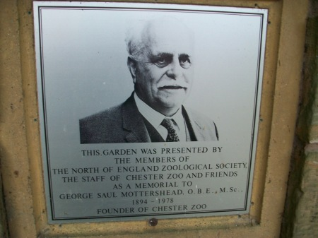 Mr. Mottershead, founder of Chester Zoo - memorial plaque near Oakfield House, Chester Zoo (Image: World War Zoo gardens project)