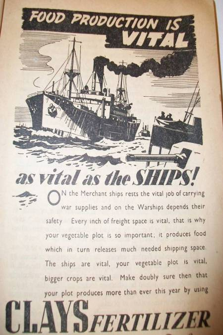 Clays Fertiliser advert from 1940s Britain