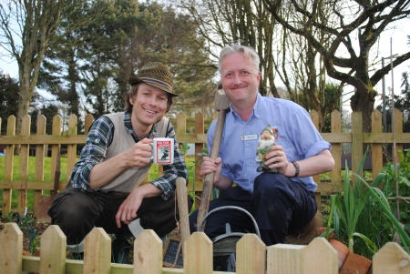 Mr Bloom visits the World War Zoo Dig For Victory wartime garden at Newquay Zoo, 2 April 2012 with project manager Mark Norris.