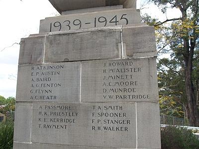 T W Rayment features on the Beecroft war memorial  (Photo from the Register of War Memorials in Australia website) .