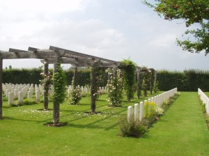 Beautifully kept garden setting of Banneville La Campagne War Cemetery , Calvados, France where Kew's J.W.Sutch lies buried. (Image copyright: CWGC www.cwgc.org)