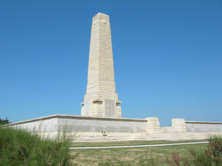 Helles Memorial to the missing of the Gallipoli campaign, Dardanelles, Turkey.  (Image: CWGC website)