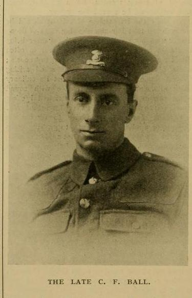 C.F. Ball, Dublin Fusiliers, killed at Gallipolli, pictured in The Garden obituary, October 16 1915.