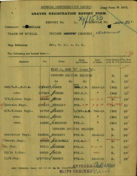Hayhurst J CWGC form
