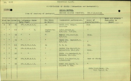 J Hayhurst's reburial or concentration form suggest he was reburied at Unicorn from elsewhere. Source: CWGC