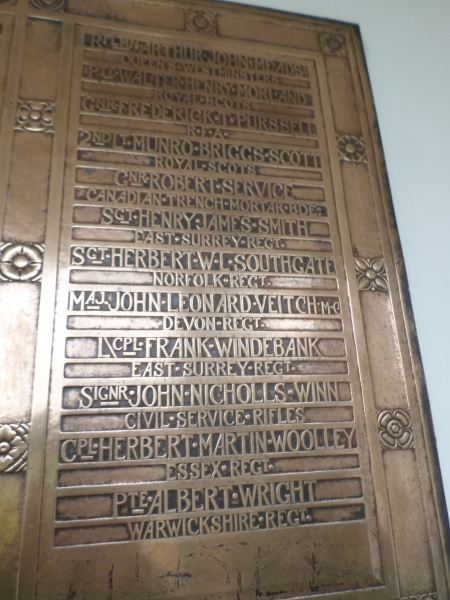 Albert Wright of Birmingham and Kew Botanic Gardens Remembered on the WW1 section Kew Gardens staff memorial  (Image Source: Mark Norris, World War Zoo gardens project, Newquay Zoo)