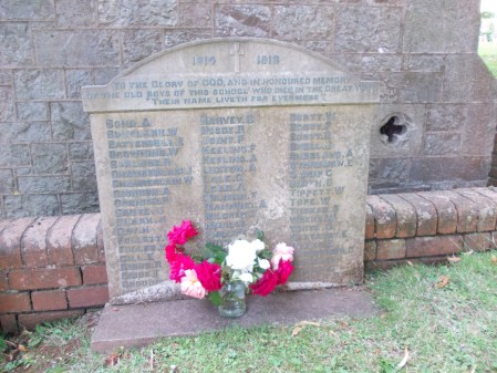 James William Clark is recorded on his school war memorial, currently being restored, Torre / Torquay (Source: Margaret Forbes-Hamilton)