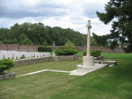 William Morrey is buried in the middle of the second to back row of these hospital related casualties, Beauval Communal Cemetery, Somme, France.