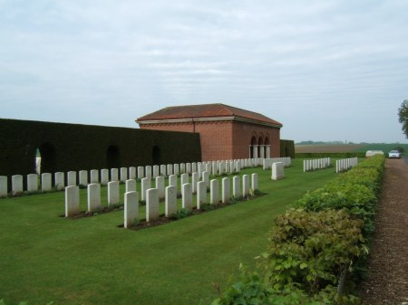 Whybrow's grave lies in a short row (I think) just behind the Special white central memorial stone near the entrance, London Cemetery , Longueval. Image: cwgc.org website