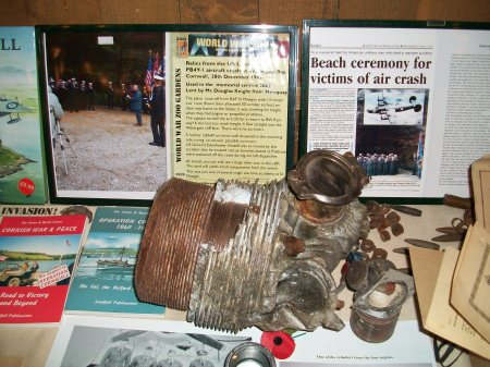 Engine section and other relics from the crashed Muck's Mauler on display at Newquay Zoo's wartime weekend in May 2010, loaned by Douglas Knight