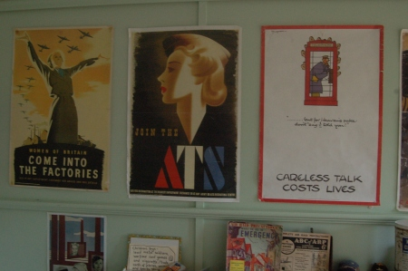 """What did you Do in the War, Granny?"" is partly answered by these poster reproductions on the wall. World War Zoo Gardens workshop, Newquay Zoo"
