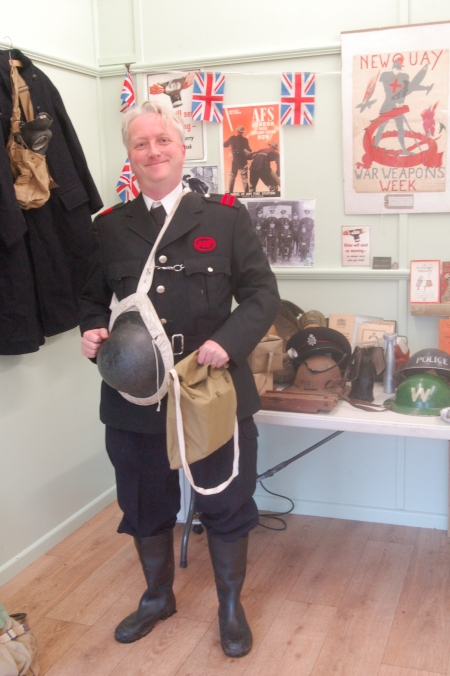 Getting into costume and character as a Zoo ARP instructor dress uniform and scratchy battledress trousers - Mark Norris, World War Zoo Gardens project schools workshop, Newquay Zoo