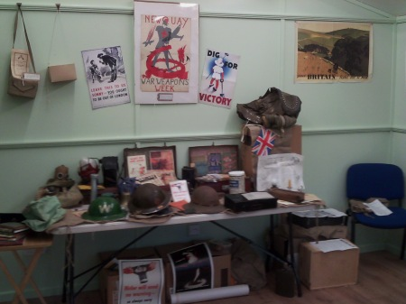 Putting our workshop materials out, World War Zoo Gardens project, Newquay Zoo