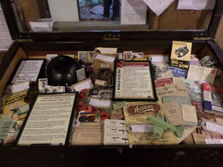 Display case of wartime memorabilia, World War Zoo Gardens project, Newquay Zoo