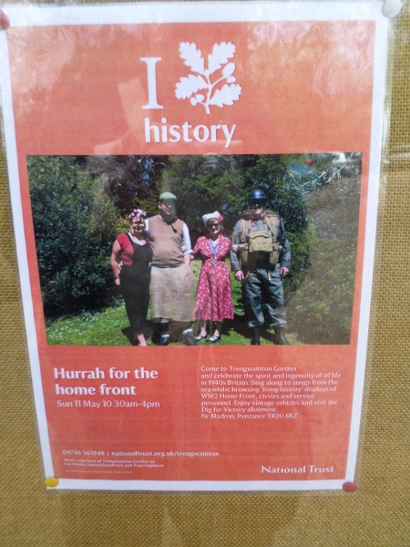 Hooray for the Home Front poster 11 May 2014, Trengwainton, NT, Cornwall.