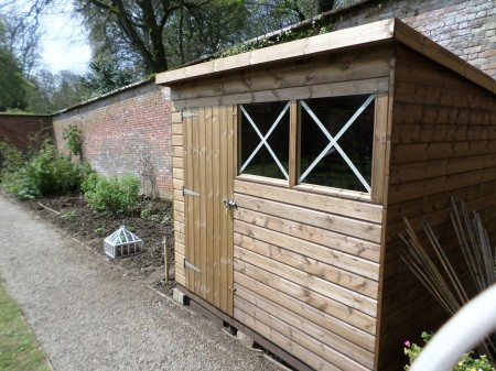 Recreating a wartime potting shed, Trengwainton NT wartime garden project, Cornwall. May 2014. Image: Mark Norris, WWZG