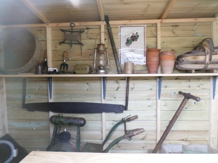 Inside the wartime potting shed, wartime garden project,  Trengwainton NT, Cornwall, May 2014 Image: Mark Norris, WWZG.