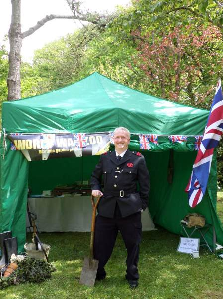 Myself pictured with trusty 'weapon of war' on the garden front outside our World War Zoo gardens exhibition tent.  Image: WWZG