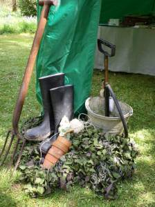 More vintage gardening kit and our Gnome Guard mascot at Trengwainton 2014. Image - WWZG