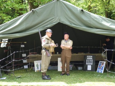 Not your usual National Trust gardener's  uniform - Gareth (left) who is researching Trengwainton's wartime past and his family links to the local Home Guard, as well as running the Wartime allotment. Image - WWZG.