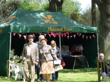 Visitors, vintage crafts and costumes, National Trust Trengwainton 2014. Image - WWZG.