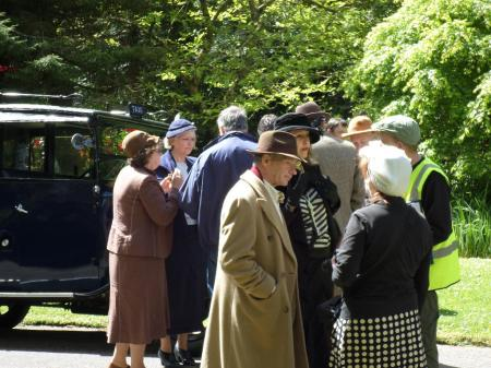Some of the many visitors in costume with vintage vehicles, Trengwainton 2014. Image - WWZG