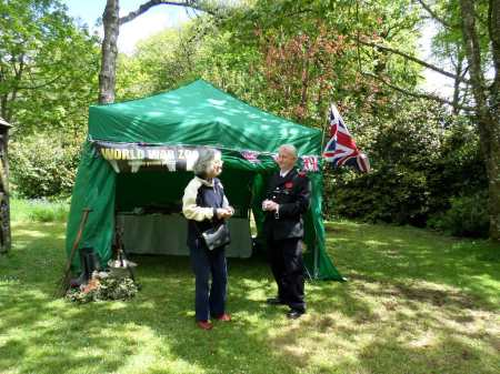 Chatting with visitors outside our wartime garden tent exhibition, Trengwainton 2014. Image - WWZG.