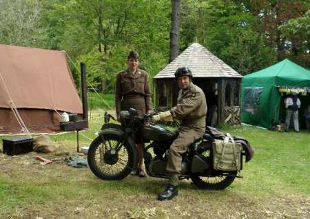 Re-enactors with a much admired vintage motor bike, Trengwainton, 2014.  Image - WWZG.