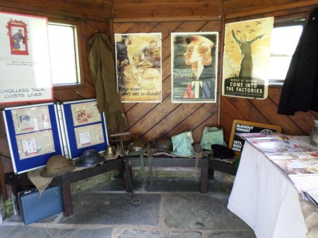 Part of Newquay Zoo's World War Zoo Gardens schools wartime zoo workshop materials - helmets and uniforms - to try on, Trengwainton 2014. Image WWZG