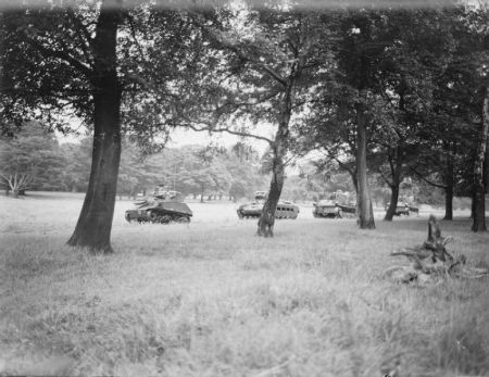 Knowsley Esate Prescot (now Safari Park) Tank Training 1940/1 IWM image collection English: The British Army in the United Kingdom 1939-45  Matilda II and Light Mk VI tanks of the Royal Tank Regiment on exercise in Knowsley Park, Prescot, near Liverpool, England, 25 July 1940. This training operation formed part of British preparations to repel the threatened German invasion of 1940.  Image source : IWM H2529/ Wikipedia