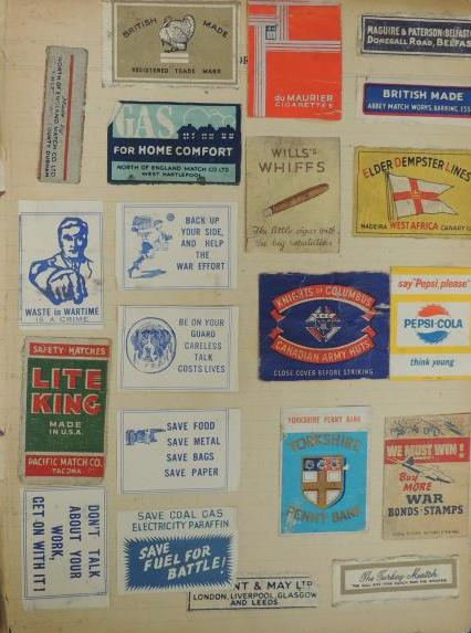 Wartime propaganda matchbooks  & matchbox labels, 1944 diary WWZG collection  Image:  Mark Norris, WWZG.
