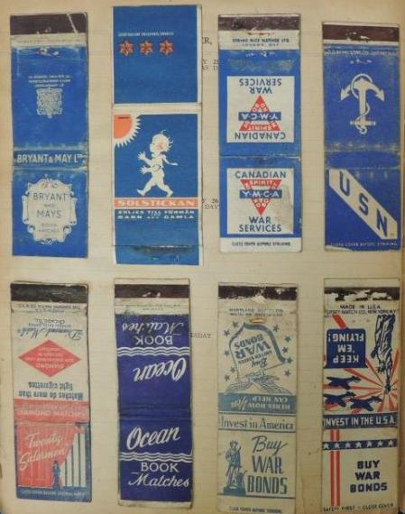More wartime propaganda matchbooks  & matchbox labels, 1944 diary WWZG collection  Image:  Mark Norris, WWZG.