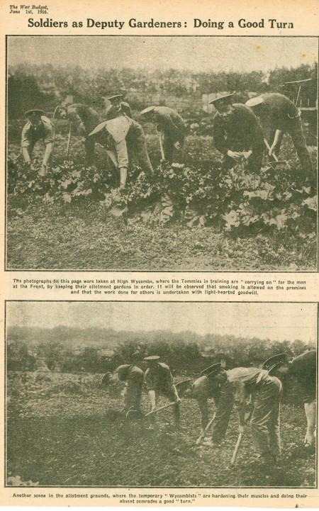WW1 soldiers gardening