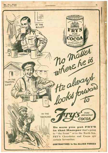 Fry's Cocoa advert The War Budget, 1917 WW1 (author's collection)