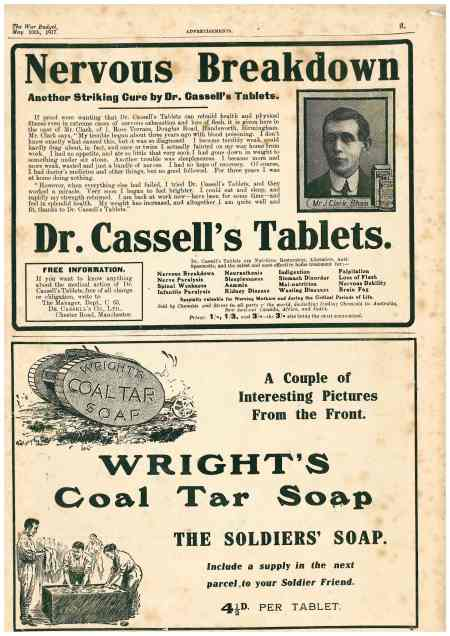 Wright's Coal Tar Soap -tank advert, The War Budget, 1917, WW1 (Image: author's collection, WWZG)