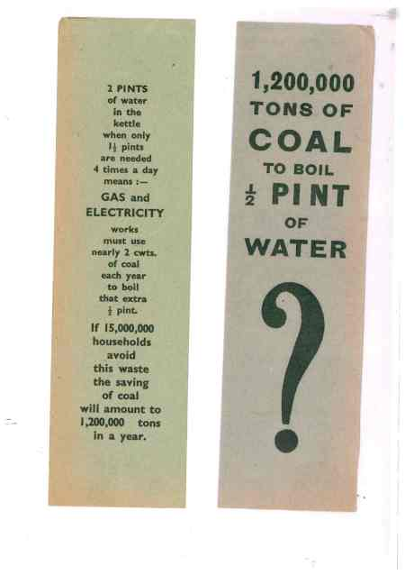 Energy saving WW2 style Bookmark (source: author's collection, on loan to World War Zoo Gardens project)