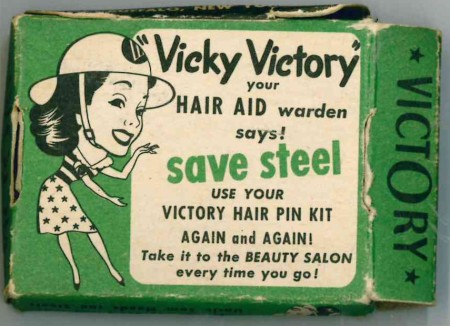 Save Steel - An encouragement to reuse rather than recycle, with Vicky Victory The Hair Aid Warden (USA) (Source: author's collection, World War Zoo gardens Project)