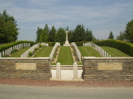 Hibers cemetery, where Herbert's brother Charles Whitley is buried, on the brow of the hill to the left of the cross of sacrifice (Image; CWGC website)