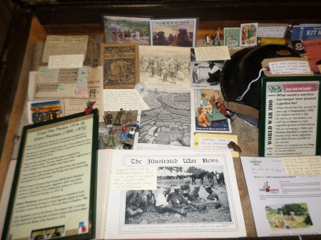 A small selection of WW1 items on display alongside our usual WW2 material, display case, Tropical House, Newquay Zoo.